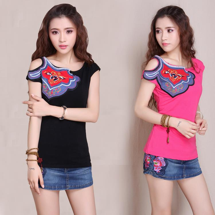 2014 National trend female strapless applique embroidery short-sleeve color block slim bust t-shirt - Fashion online zone store