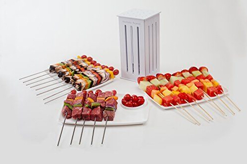 NEW ! Brochette Express with 16 Bamboo Skewers Food Slicer BBQ Grill Shish Kabab Maker(China (Mainland))