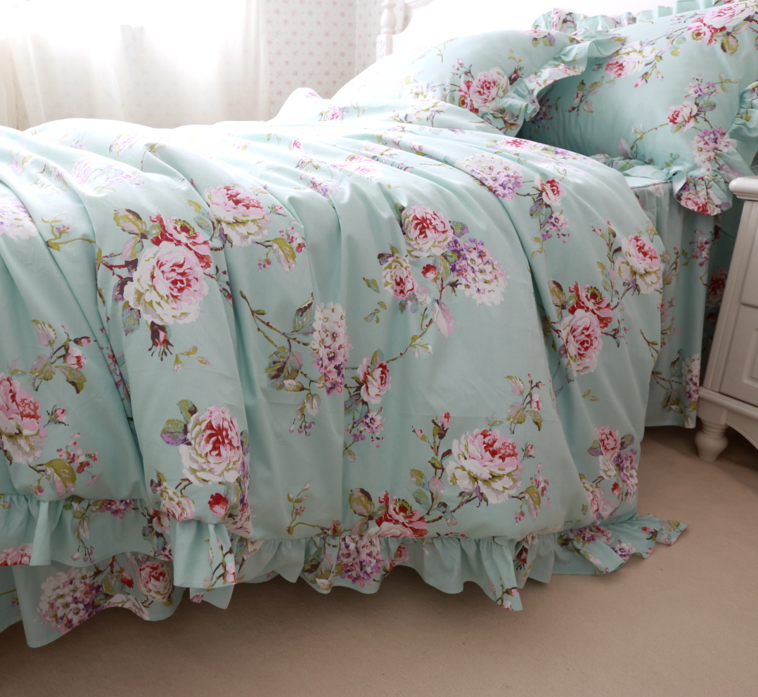 blue floral bedding set,twin full queen king girls cotton romantic bed ...