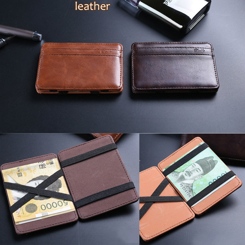 2015 New arrival High quality leather magic wallets fashion designer men wallets money clip retail and wholesale FGS05(China (Mainland))