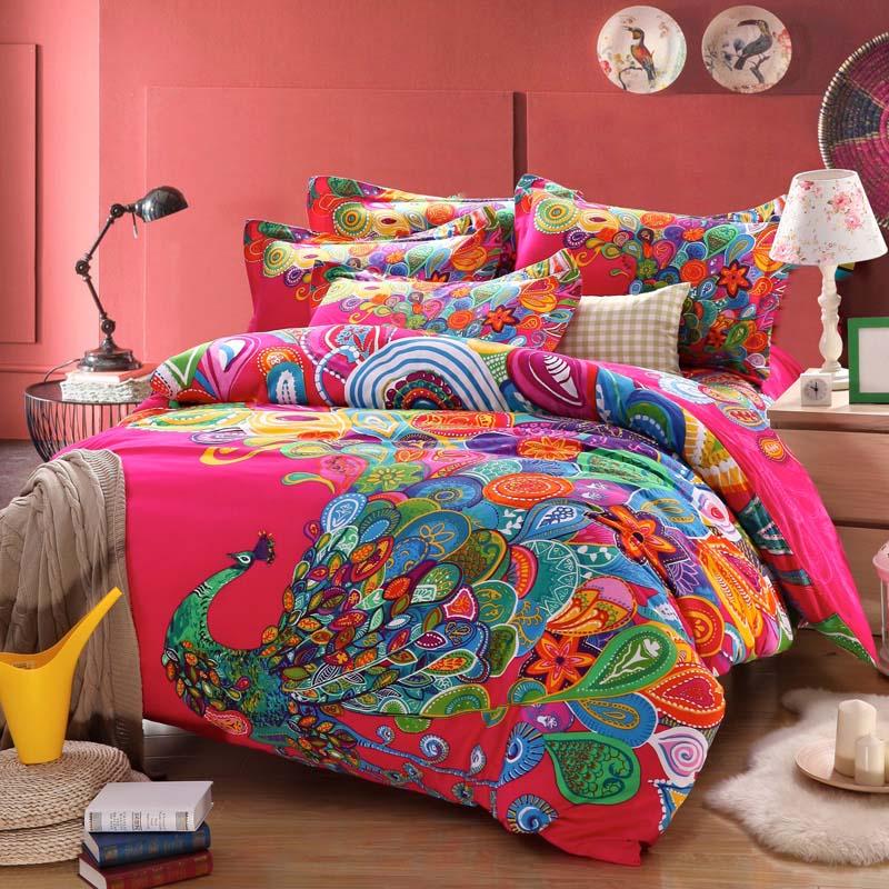brushed cotton peacock bedding sets 4pcs queen king duvet