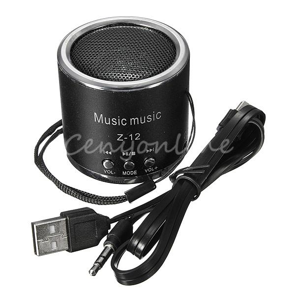 Z12 Black Cylinder Portable Mini Speaker Amplifier FM Sound Radio HIFI Support USB Micro for SD TF Card MP3 Player(China (Mainland))