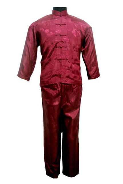 Бургундии китайских людей полиэстер рубашка брюки кунг-фу костюм sml XL XXL бесплатная ...