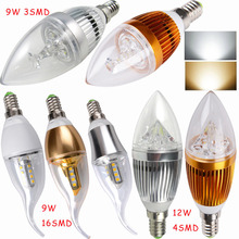 Buy 5PCS E14 9/12W led candle Lamp light bulb warm/cool white 110v 220v White/Silver/Gold for $15.88 in AliExpress store