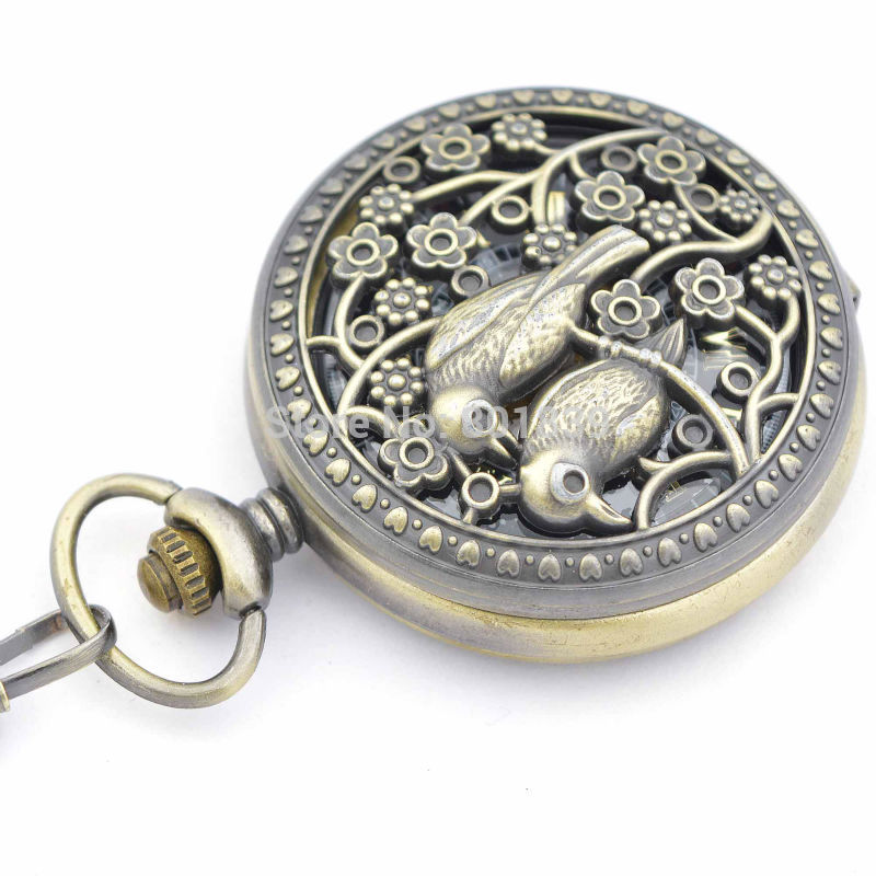 10PCS H261 bird Case Mens watch Skeleton Engraved Hand Winding up Mechanical Pocket Watch with Chain Nice Gift watch for men<br><br>Aliexpress