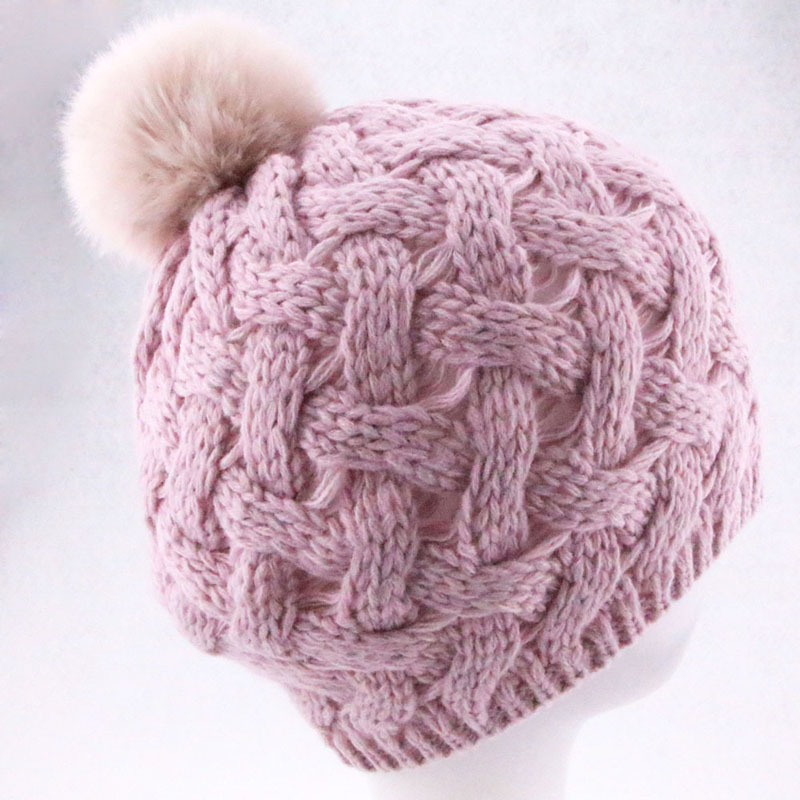 4 Colors 2015 New Fashion Women Winter Hats with Rabbit Fur Ball High Quality Paisley Skullies Knitted Hat Touca Gorros(China (Mainland))