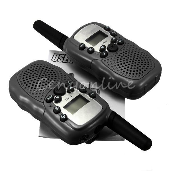 T-388 2pcs Dual Black Adjustable Mini Portable Multi Channels 2-Way LCD 5KM UHF Car Auto VOX Radio Wireless Travel Walkie Talkie(China (Mainland))