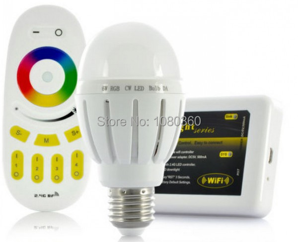 Free shipping mi light 2.4G 6W Wifi E27 RGBW RGB+ white E27 Led Dimmable Bulb lamp + 4 Zone RF touch remote + wifi controller(China (Mainland))