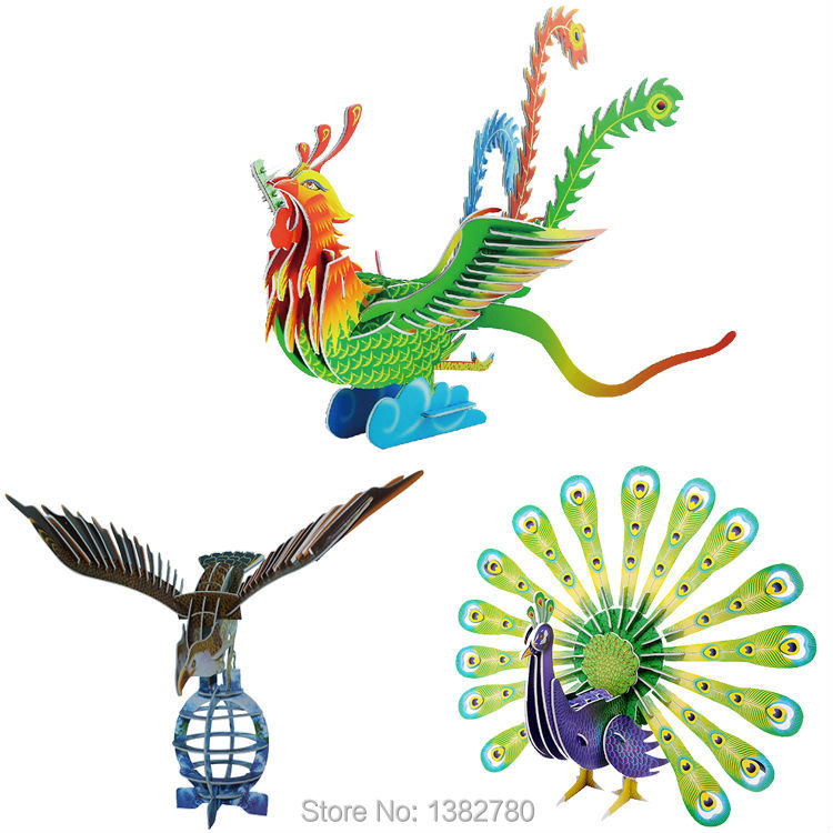 2014 Hot Selling Puzzles Kids Educational Toys DIY 3D Jigsaw Puzzle For Children Adults Animal Models Free Shipping(China (Mainland))