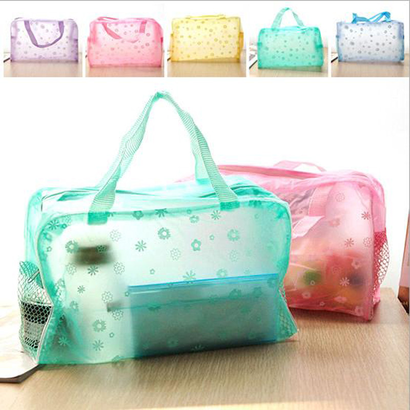 Hot 2015 Portable 5 Colors Floral Print Transparent Waterproof Cosmetic Bag Toiletry Bathing Make up<br><br>Aliexpress