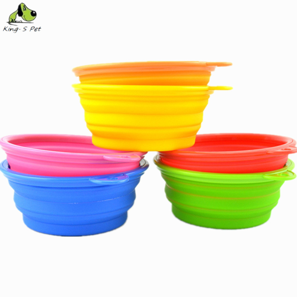 Pet Dog Cat Silica Gel Bowls Folding Portable Bowl For Dog Feeders And Drinking Water 8 Colors Available Free shipping(China (Mainland))