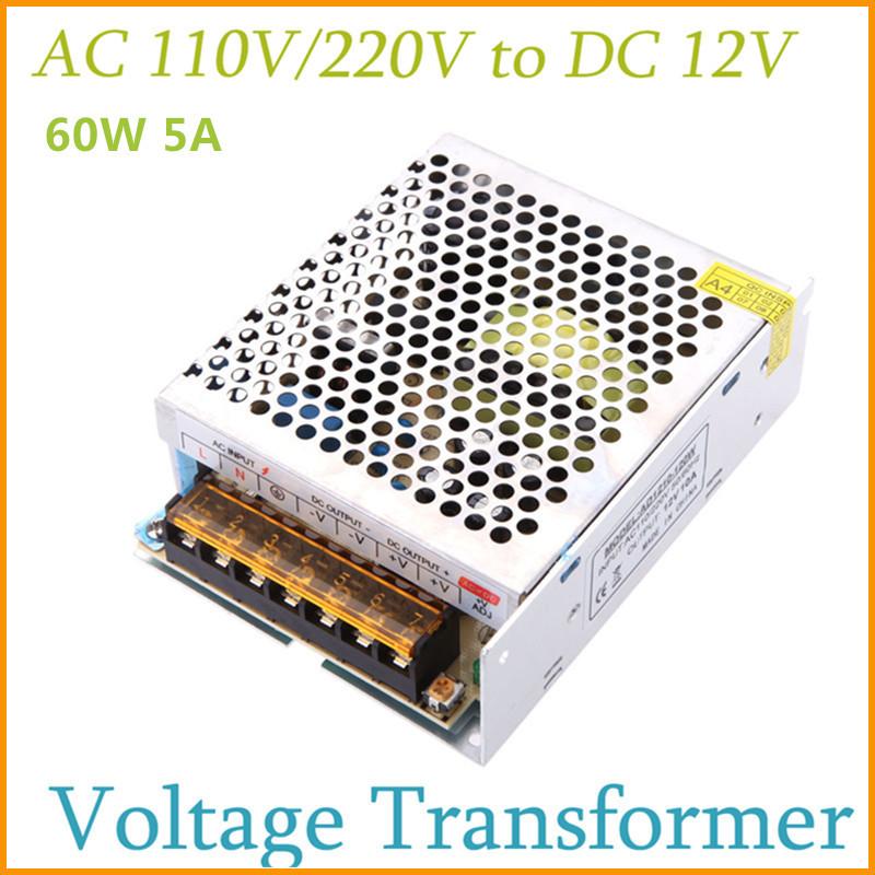 AC 110V 220V to DC 12 Volt Switch Power Supply 60W Voltage Transformer for Led Strip Led Display