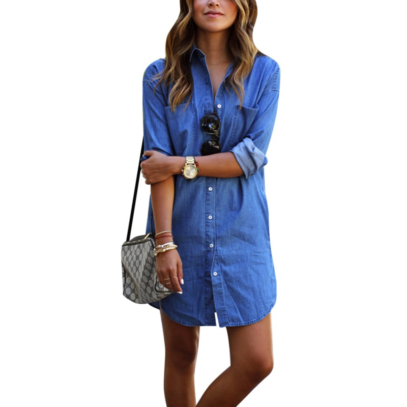 Hot Sales Casual Women Dress Long Sleeve Mini Shirt Dress Blue Jeans Denim New(China (Mainland))