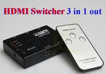 1080p Full HD 3 Port 3 to 1 HDMI Switch Switcher 3 IN 1 OUT Hub with Remote Control Splitter Box for HDTV PS3 DVD *100pcs/lot(China (Mainland))