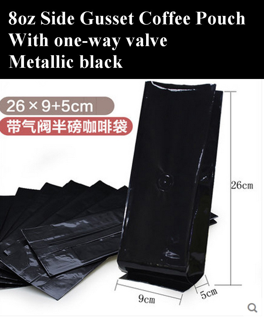 8oz Coffee Pouch with One-way Valve, 1/2 pound Metallic Black Foil Coffee Bean Packaging Bag, 100pcs/lot Free Shipping(China (Mainland))