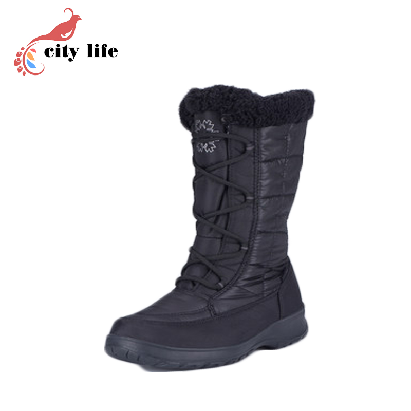 2016 New Discount Plus Velvet Flat Winter Boots Lace Up Waterproof Ski Snow Shoes Botas De Mujer Size 40 9<br><br>Aliexpress
