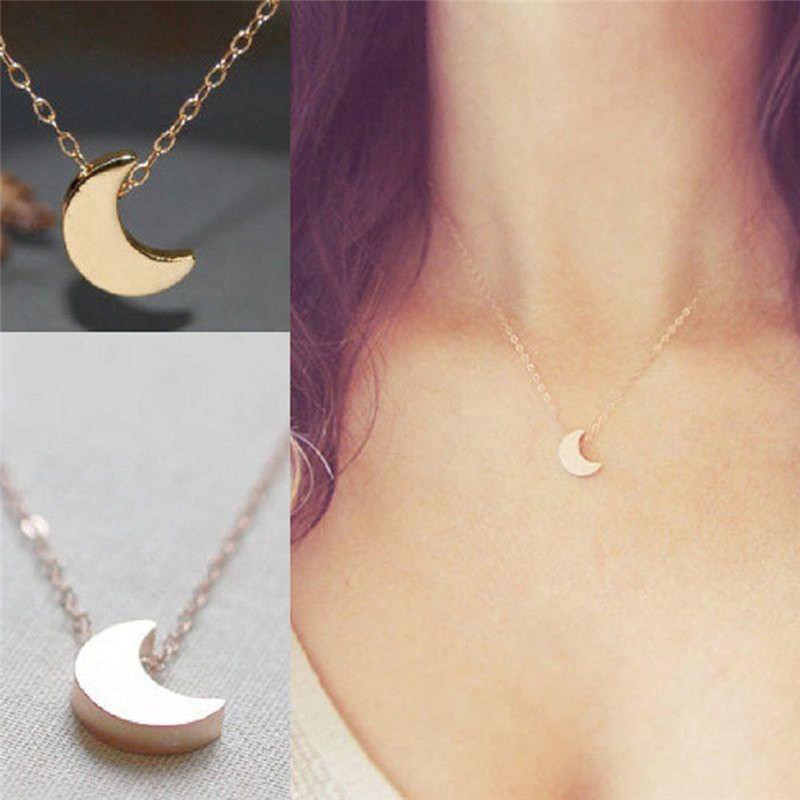 New fashion women jewelry Moon Silver Gold Long Necklace Solid Chain Pendant Necklace(China (Mainland))
