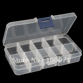 Plastic Empty Storage Case Box 10 Cells for Nail Art Tips Gems  #4801