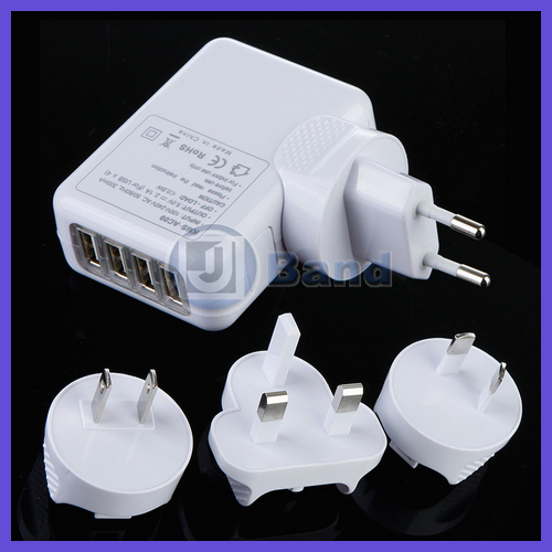 1set/lot 4 Port USB AC Adapter US / UK /EU/ AU Plug Wall Charger For iPhone iPad for Samsung HTC Nokia mp3 mp4 FreeShipping(China (Mainland))