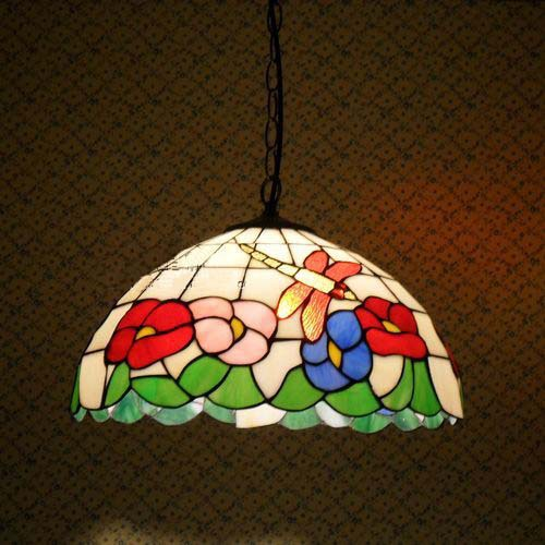American country Tiffany glass chandelier bedroom lamp restaurant dragonfly flower Lighting DIA 40 CM H 100 CM(China (Mainland))