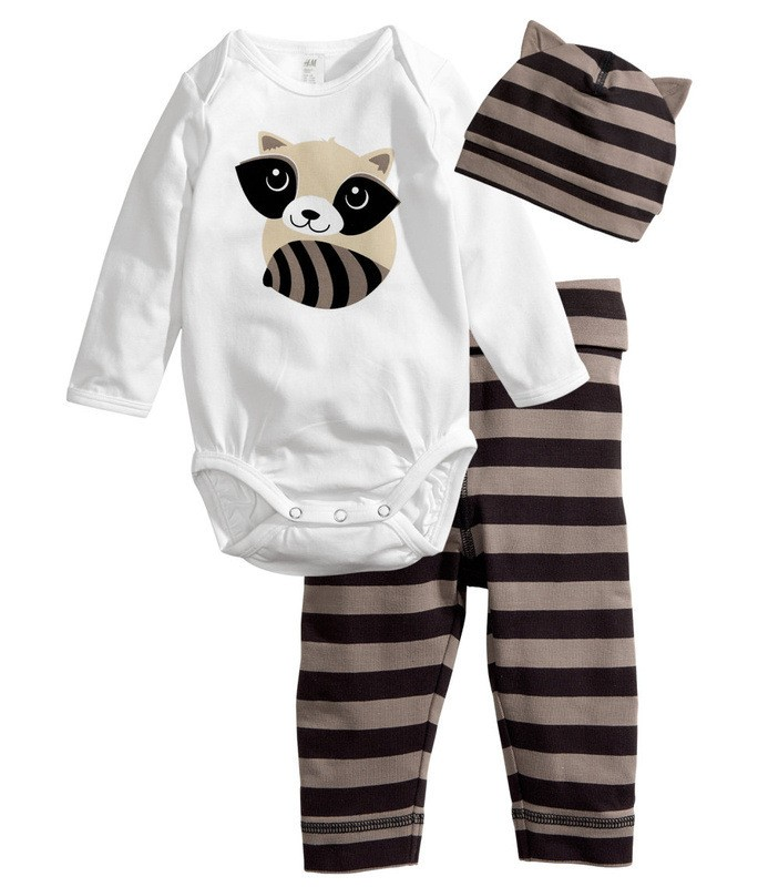baby romper long sleeve cotton newborn baby clothes baby clothing Animal rompers + hat + pants 3 pieces clothing set new 2016(China (Mainland))