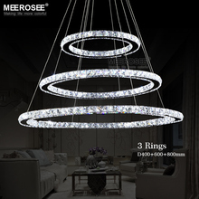 Hot sale Diamond Ring LED Crystal Pendant Light Modern LED Lighting Circles Hanging Lamp 100% Guarantee Lustres Luminaire(China (Mainland))