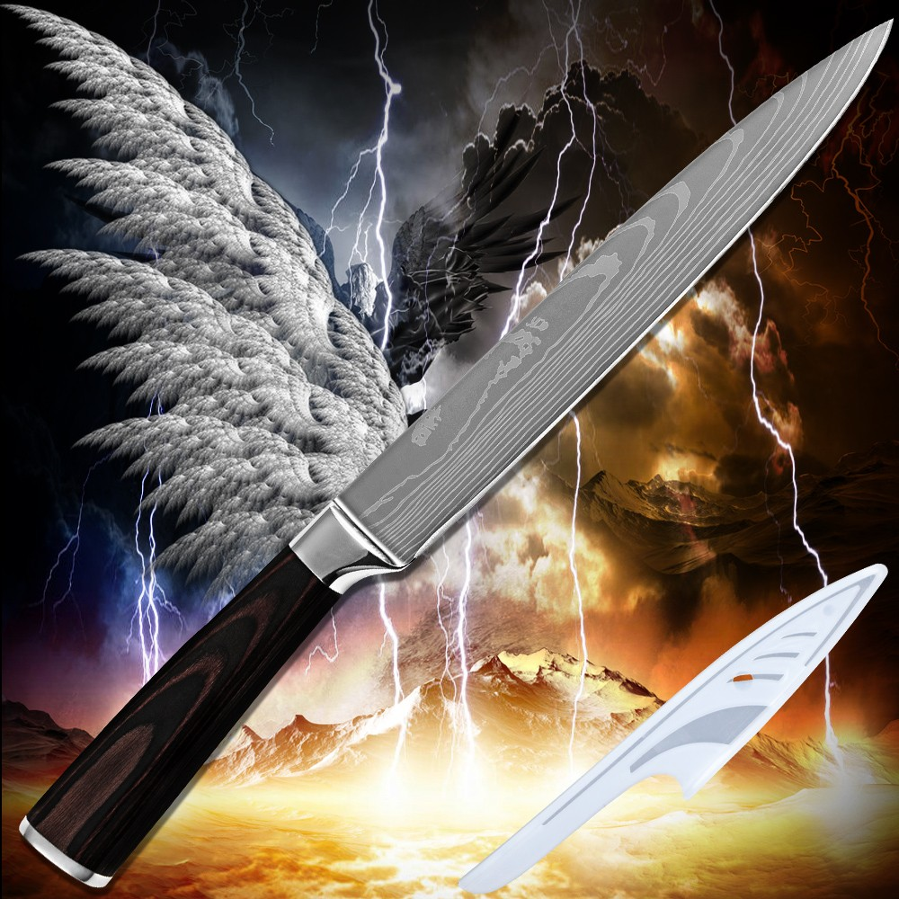 Buy Hot products slicing knife 8 inch kitchen knife Damascus pattern stainless steel superb sharp cooking tools pakka wood handle cheap