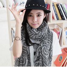 1PC 100*180 cm bohemian style multi circle printed long retro cotton blend scarves(China (Mainland))