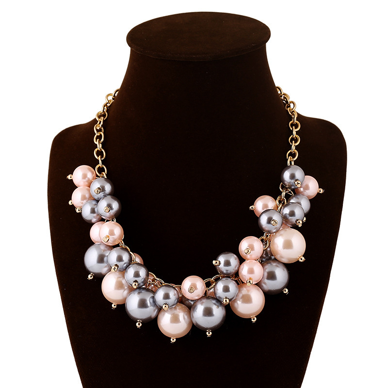 2015 Summer Trendy Fashion Statement Plastic Beads Necklace Choker Collar Jewelry For Women(China (Mainland))