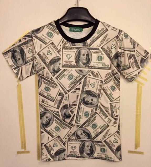 2014 new Korean short T and short sleeved funny fashion T-shirt men personality money shirts free shipping Men's clothing(China (Mainland))