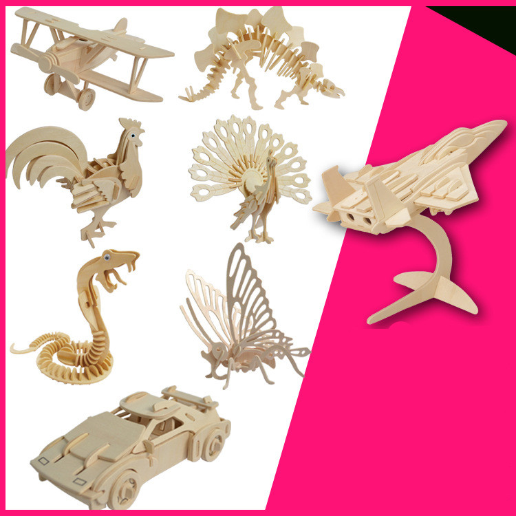 Selling Wooden 3 D Puzzles Educational Toys Simulation Model 3 D Wooden Gift Ideas Building of Animal Puzzle(China (Mainland))