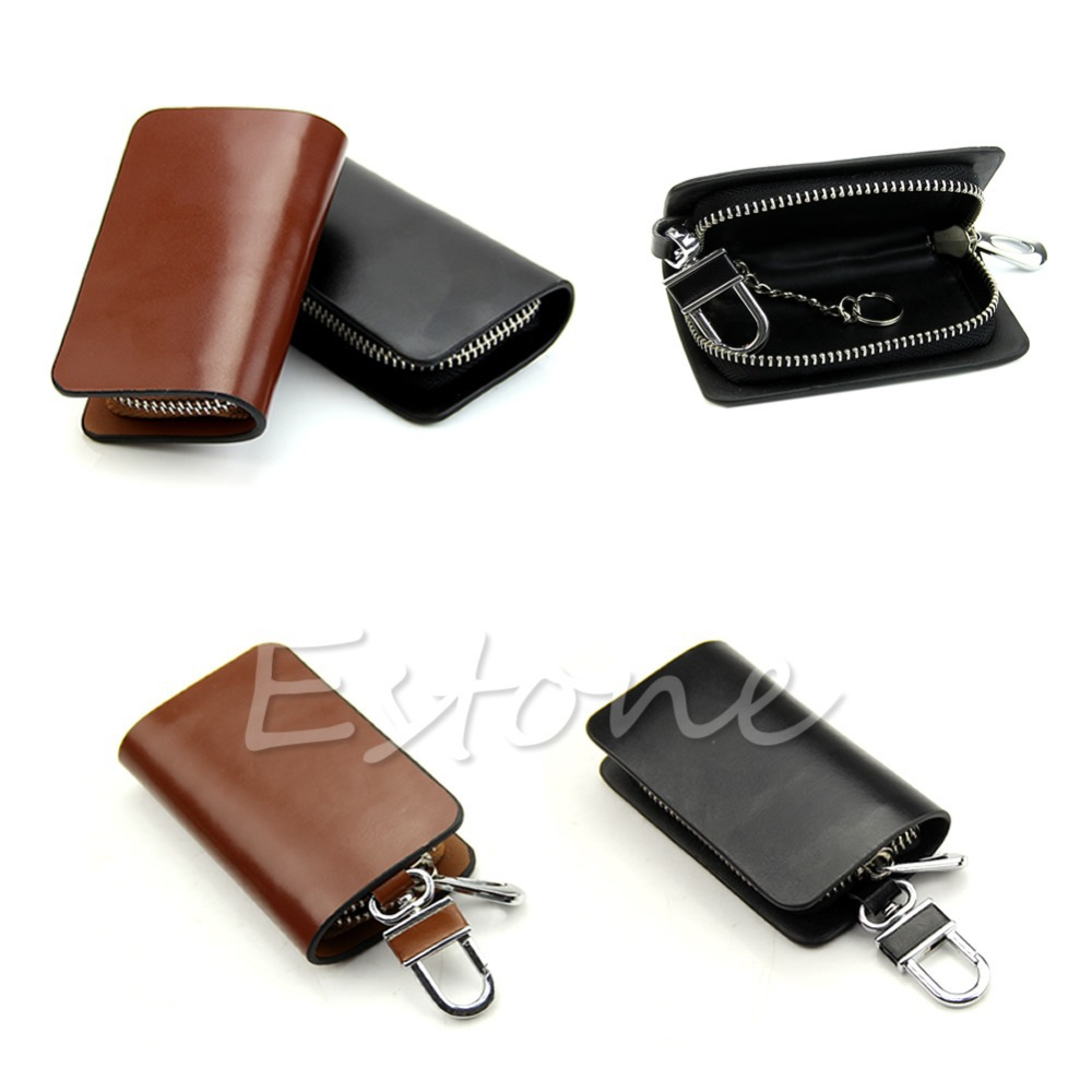 Free Shipping op-Quality Gorgeous Smooth Faux Leather Car Keychain Car Key Case Bag Cover(China (Mainland))