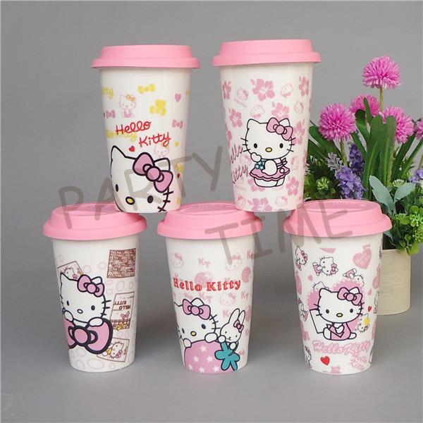 Cartoon Mug Ceramic Hello Kitty Water Mug with Silicon Lid Pink Coffee Single Wall Cup(China (Mainland))