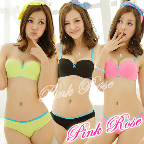 2014 small fresh sexy young girls one piece bra set women ladies thin AB cup cotton underwear set many color free shipping(China (Mainland))
