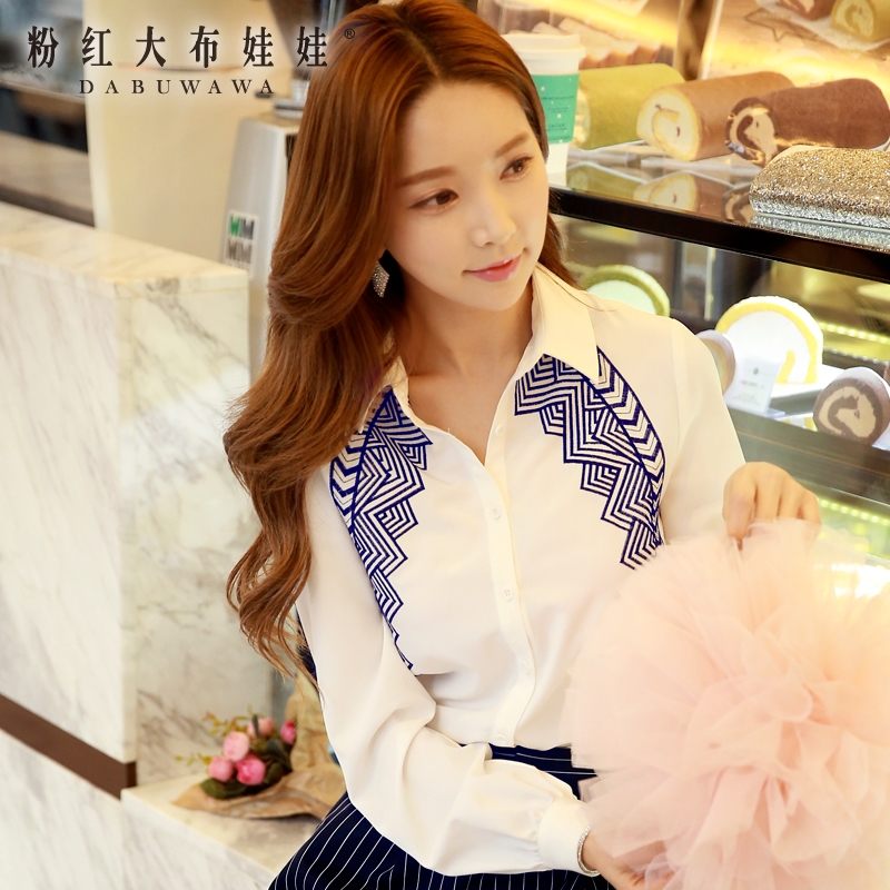 Long sleeved shirt Girl Pink Doll 2016 new spring embroidered blouses collar