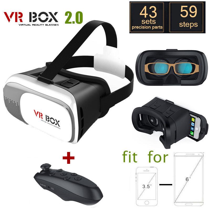 Google cardboard VR BOX 2.0 Version VR Virtual 3D Glasses for 3.5 - 6.0 Smart Phone + black wireless bluetooth gamepad<br><br>Aliexpress