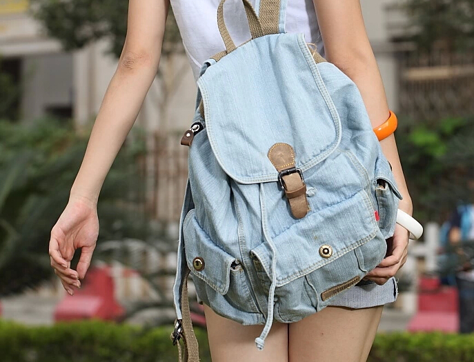 Classic Vintage Fashion Preppy Trendy Style Denim Cotton Women Backpacks Girls Retro Jeans Backpack Travel School Drawstring Bag(China (Mainland))