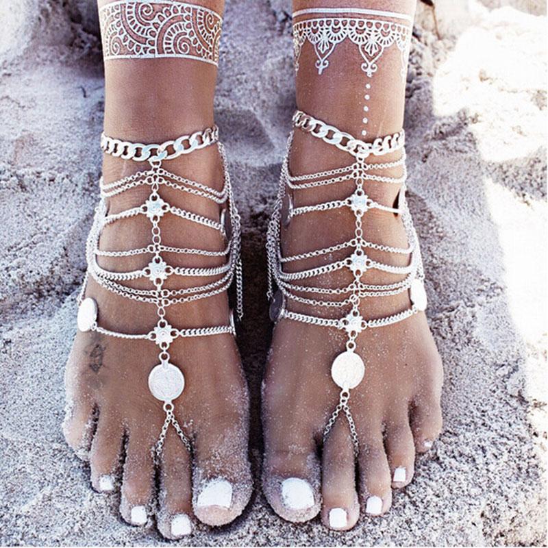 Antique Silver <font><b>Anklet</b></font> Fashion Coin Tassel Leg Bracelet For Women To Beach Ankle Chaine Cheville Tobillera Foot Chain <font><b>Anklets</b></font>