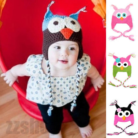 Cap Hat Owls Fashion Cute Baby Boy Girl Toddler Knit Crochet Beanie New ( Free Shipping )(China (Mainland))