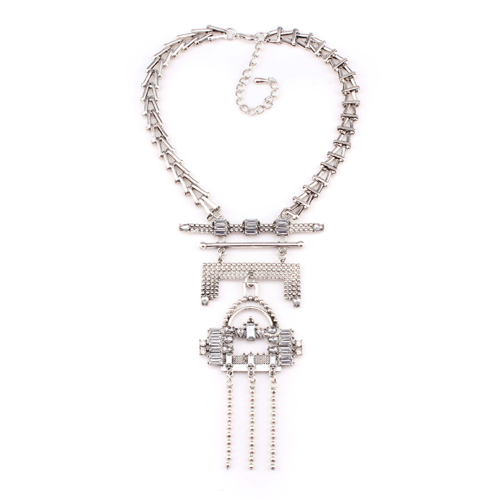New Maxi Silver Metal Necklace Fashion Women Statement Vintage Tassel Necklaces & Pendants Women Jewelry(China (Mainland))