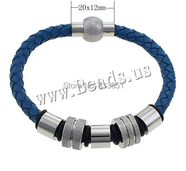 Free shipping!!!Cowhide Bracelet,Bulk Jewelry, with Rubber &amp; Stainless Steel, frosted, blue, 20x12mm, 6mm, 8x10mm, 8x13mm<br><br>Aliexpress