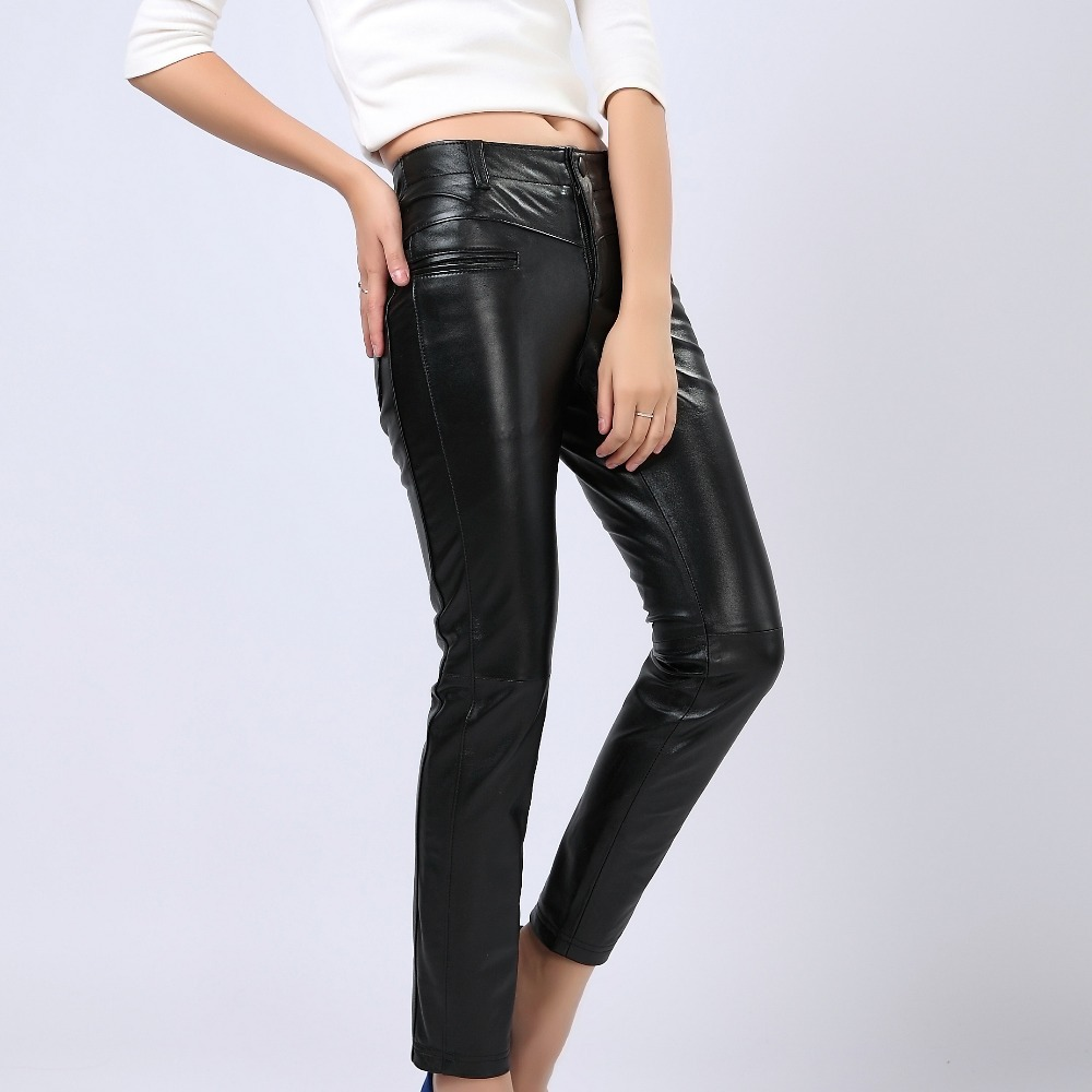 Original Women39s Leather Pants Fashion Classic Skinny Motorcycle Pants High