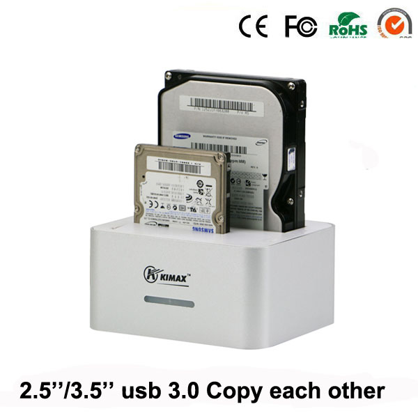 usb 3.0 desktop external hdd case caddy ssd hdd 2.5 3.5 Inch cd case 2 Bay up to 4TB per with copy each other(China (Mainland))