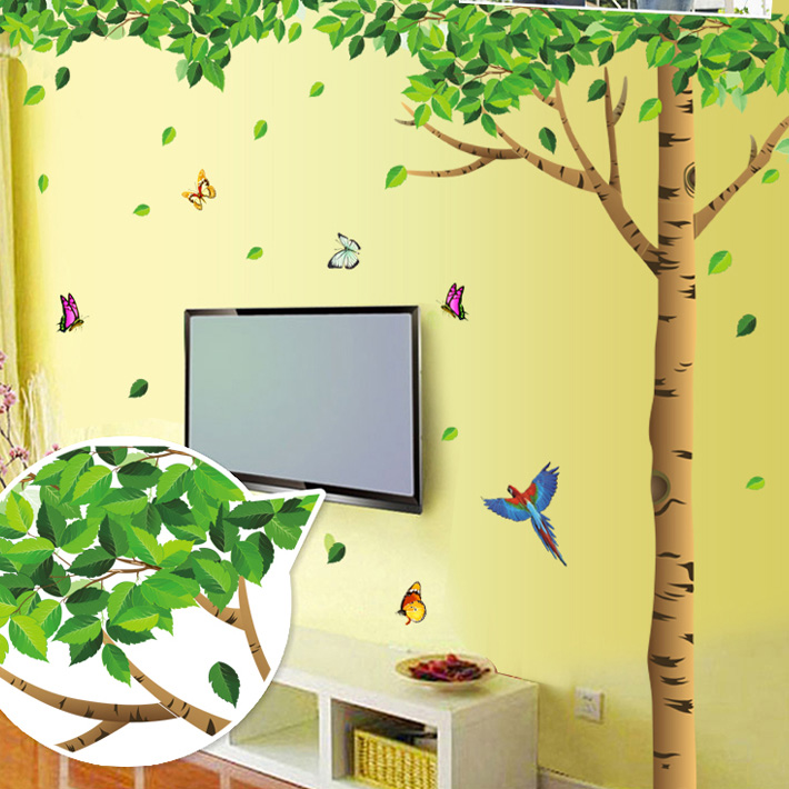 Free Shipping Trees lined Korean removable wall stickers romantic bedroom living room TV wall creative home decorations Children(China (Mainland))