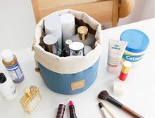 Barrel Shaped Travel Cosmetic Bag Nylon High Capacity Drawstring Elegant Drum Wash Bags Makeup Organizer Storage