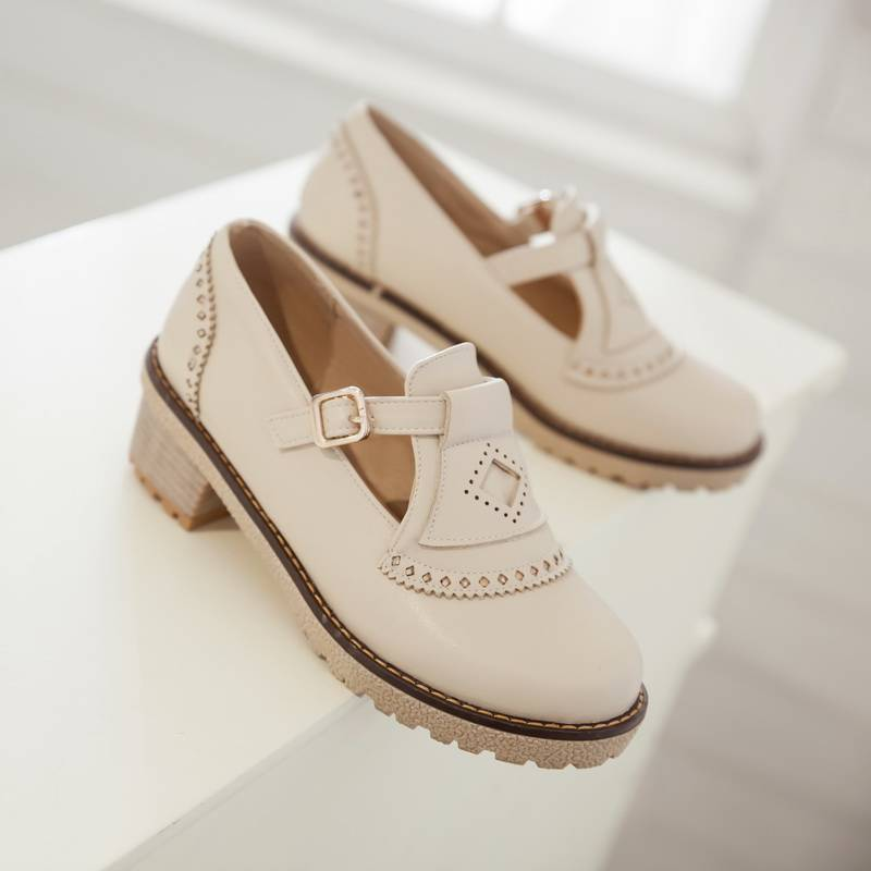 Fashion Vintage Style Women Pumps Buckle Round Toe Platform Shoes Square Low Heels Slip-On Casual Shopping Shoes Big size 34-43