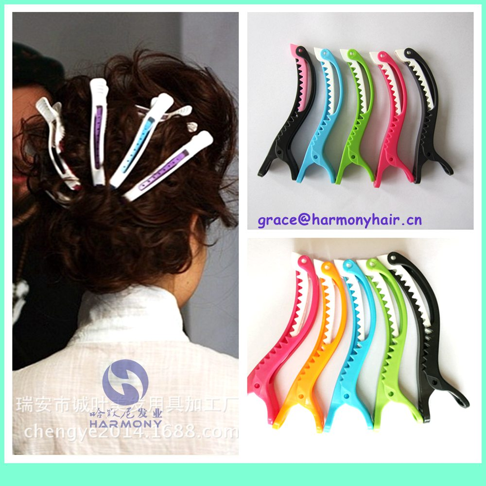 HARMONY HOT NICE 10pcs/lot colorful plastic section clip for salon hairdresser and personal beautiful alligator clip mixed color(China (Mainland))
