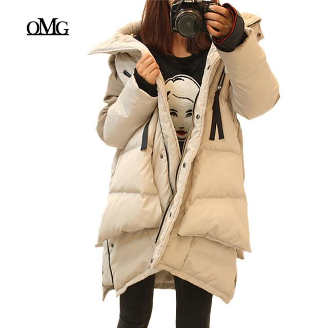 Тонкий свободного покроя зима мода женская утолщение меховой воротник капюшон тонкий ...
