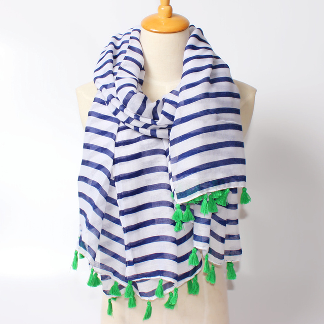 2016 все матч богема длинный шарф для женщин, женские синие и белые полосы кисточкой из бисера прекрасный бренд дизайнер шарф