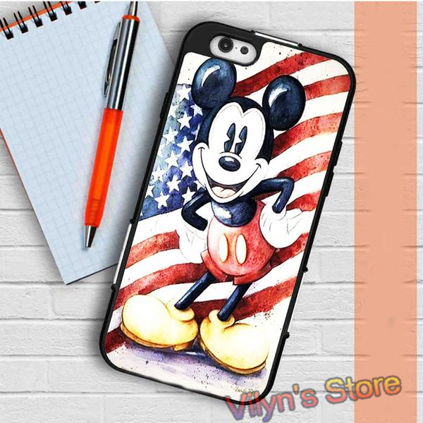 Mickey Mouse Retro Usa Flag Case cover for galaxy S3 S4 S5 S6 S6 S7 S7 Note 3 Note 4 Note 5 #XC2380(China (Mainland))